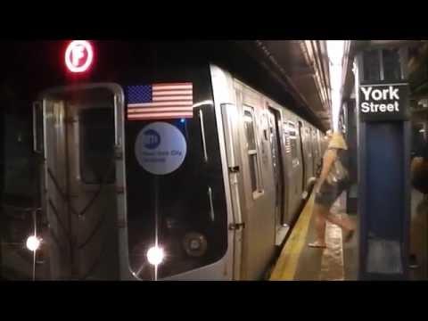 IND Sixth Avenue Line: R32, R46, R160A (A, C, F) Trains@York Street