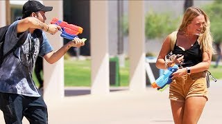STARTING WATER GUN FIGHTS WITH STRANGERS!!