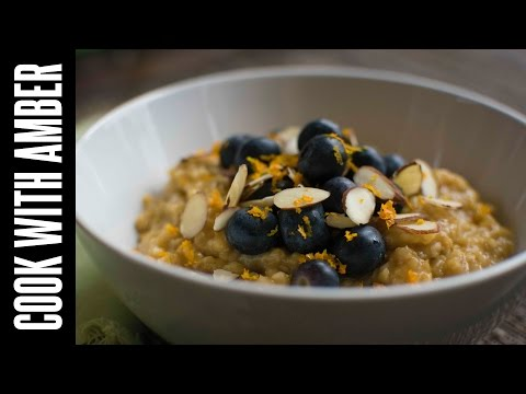Orange-Infused Steel Cut Oats with Fresh Blueberries & Sliced Almonds | Cook With Amber