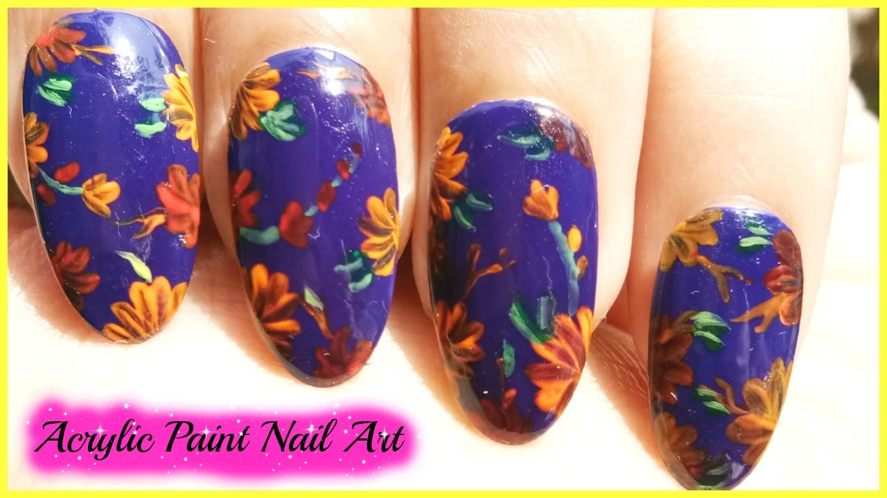 How To Use Acrylic Paint For Nail Art - YouTube
