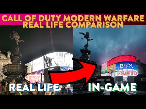 👀🔫 🇬🇧INSANE DETAIL: CALL of DUTY Modern Warfare: Piccadilly Circus, London, Real Life Comparison