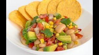 """Сальса c фасолью и авокадо (Salsa) Вегетарианское блюдо - видео рецепт от сервиса """"Личный Повар"""""""