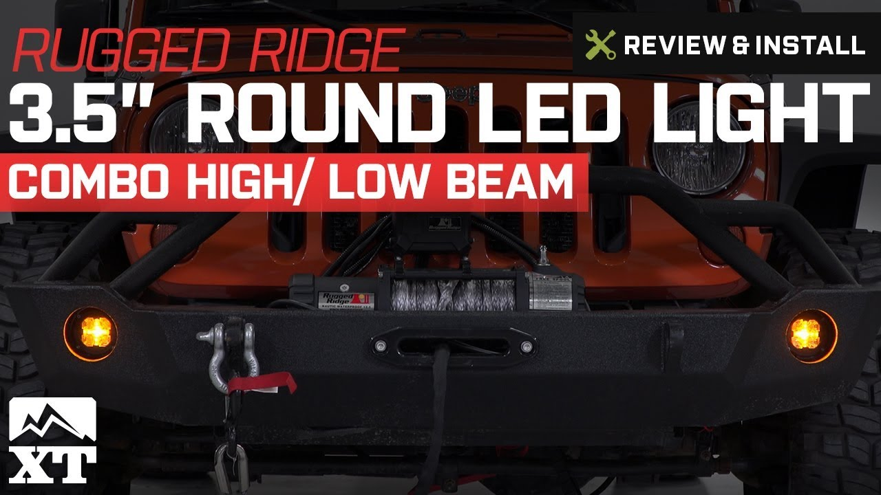 hight resolution of how to install rugged ridge 3 5 in round led light combo high low beam on your 87 18 jeep wrangler yj tj jk jl extremeterrain