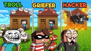 Minecraft - TROLL vs. HACKER vs. GRIEFER - Grief the Noob in Minecraft!