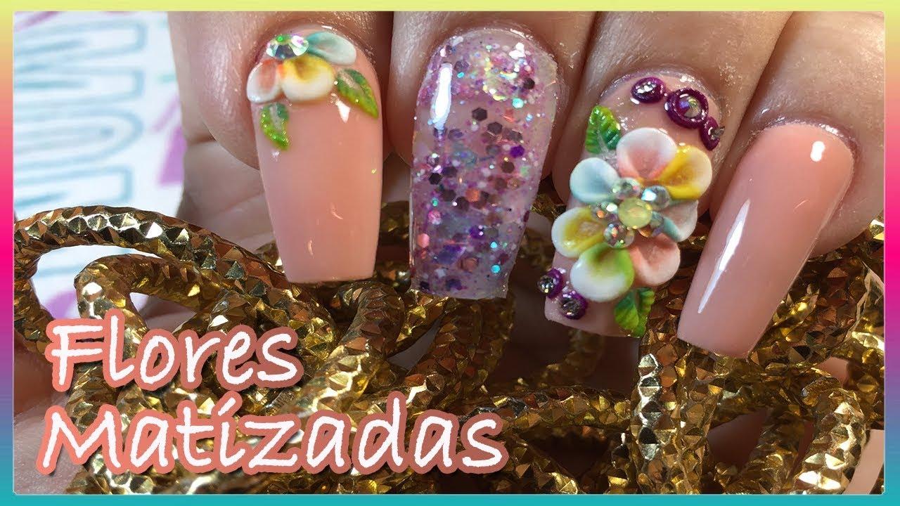 Uñas De Acrilico Moradas Y Rosa Con Flor Basica En 3d