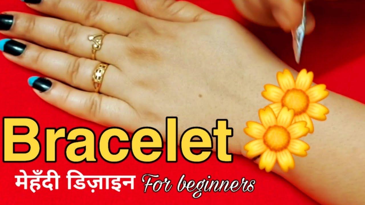 खूबसूरत ब्रेसलेट मेहंदी के 2 डिजाइन लड़कियो के लिए, latest 2 bracelet mehndi design step by step,