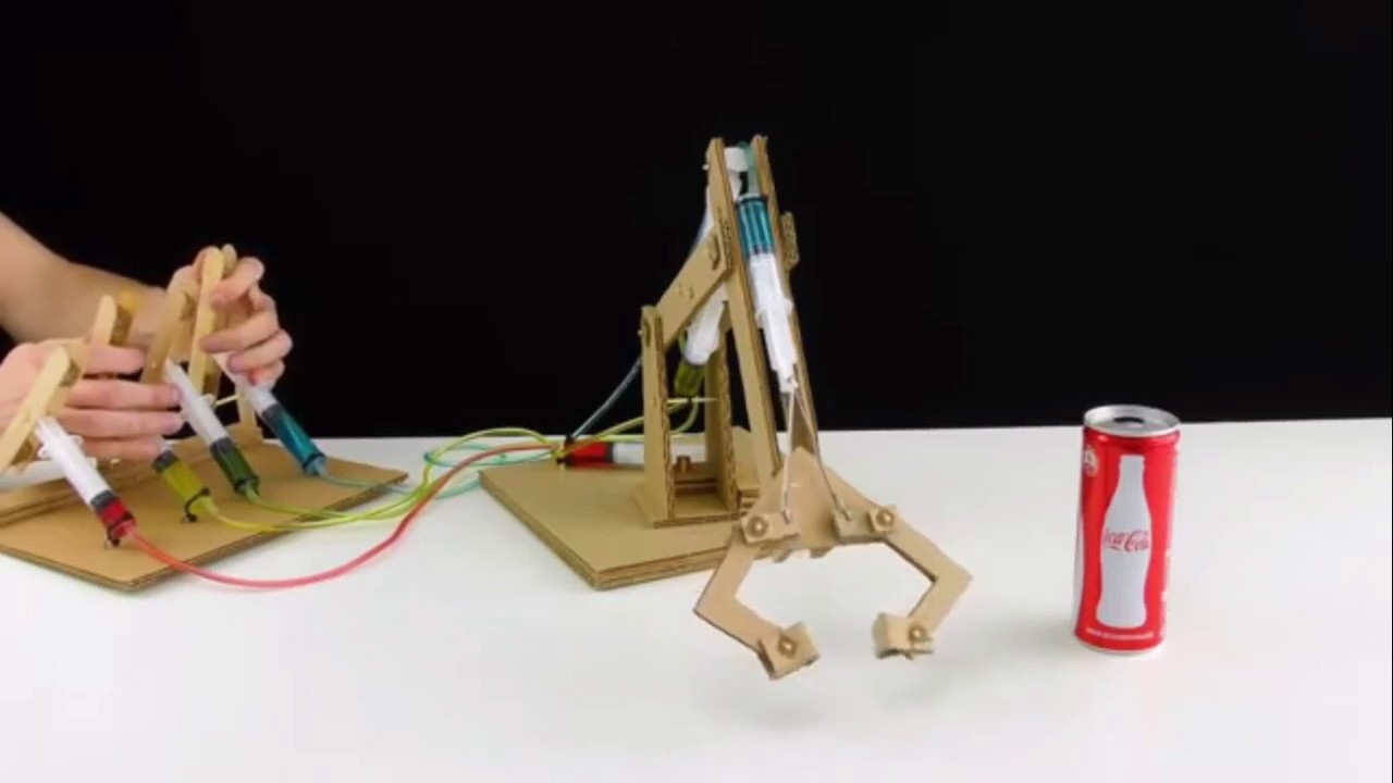 Blueprints Robot Arm Made Out Of Cardboard : How to make hydraulic powered robotic arm from cardboard