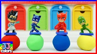 Pj Masks & Romeo Hide And Seek With Little Bus Tayo Parking Garage Toys For Kids [Jj Colors]