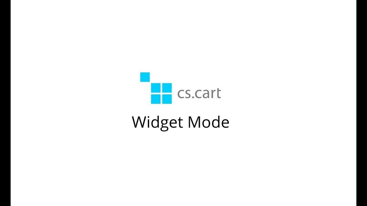 CS-Cart eCommerce Platform. Features: The Widget Mode