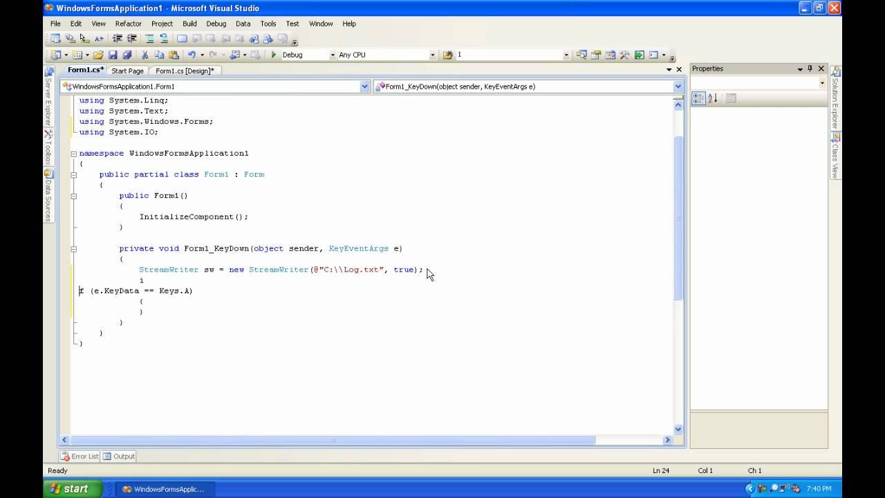 C Sharp Tutorial 9 (Keylogger)