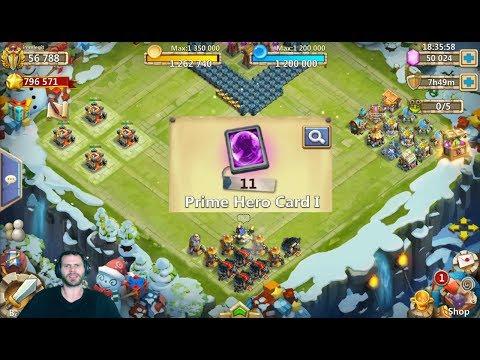 Rolling 50k Gems For Heroes 11 PRIME Hero Cards Castle Clash