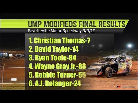 UMP Dirt Modifieds   Fayetteville Motor Speedway 8-3-19