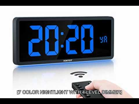 """Date Office YORTOT 16/"""" Large Digital Wall Clock with Remote Contol and 7 Night Lights 4 Level Dimmer Wall Mount//Fold Out Stand Green Big LED Clock with Indoor Temperature Perfect for Home Gym"""