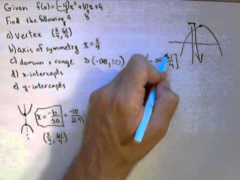 For A Quadratic Function Find Vertex Axis Of Symmetry Domain And