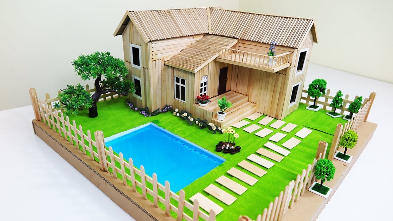 How to make a popsicle stick house with beautiful fairy Build a swimming pool in your garden
