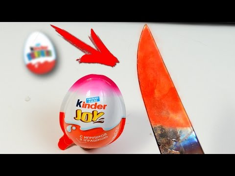 Thumbnail: EXPERIMENT Glowing 1000 degree KNIFE VS KINDER SURPRISE