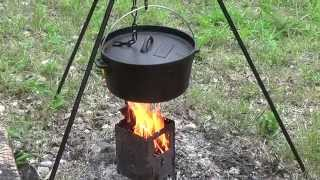 Dutch Oven Beef Stew With Bush Box Stove By The River
