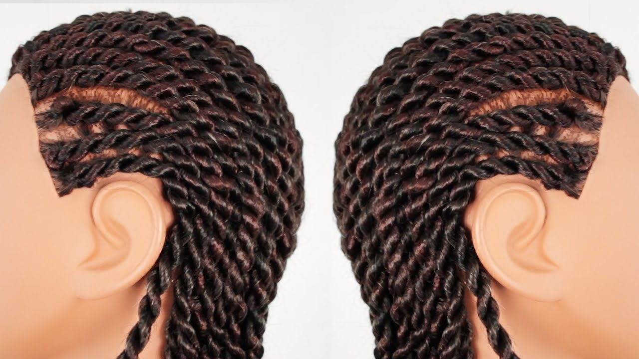 Senegalese Rope Twist Cornrows Finished Hairstyle Part 3 of 4