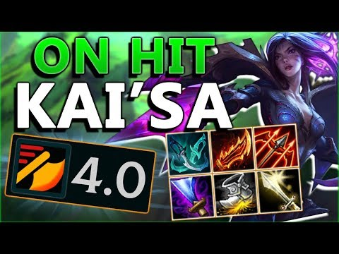 4.0+ ATK SPD ON HIT KAI'SA!! 20+ KILLING SPREE! New On Hit Kai'sa ADC - League of Legends PBE