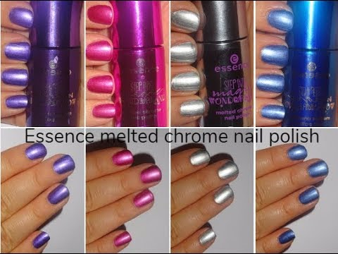 Essence Melted Chrome Nail Polish Swatches Step Into Magic Wonderland Le