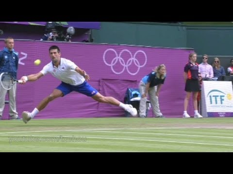 Novak Djokovic - Super Slow Motion Defensive Slice Forehand in High Definition, 2012