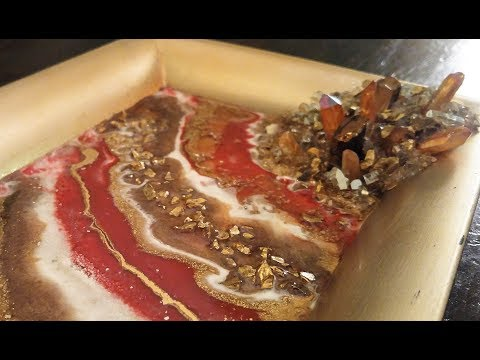 #31- Pouring a Red and Gold Resin Geode in a Decorative Tray, on a Budget!