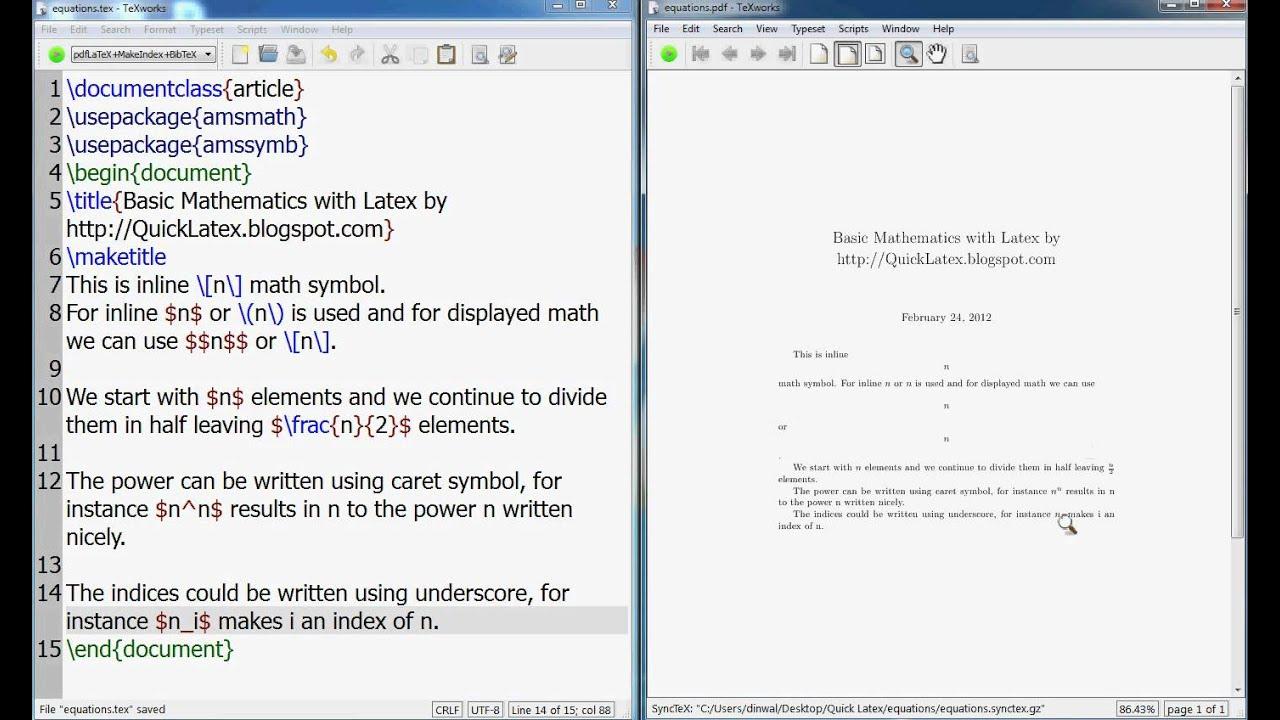 LaTeX Tutorial: How to write basic mathematics in LaTeX