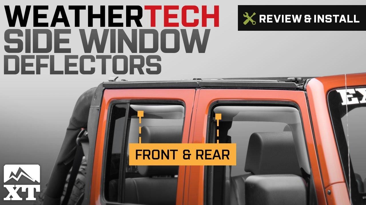 WeatherTech Custom Fit Rear Side Window Deflectors for Jeep Wrangler Dark Smoke