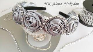РОЗЫ из лент. Ободок из Маленьких Роз в сером цвете. / Bezel of Little Roses. Roses from ribbons.
