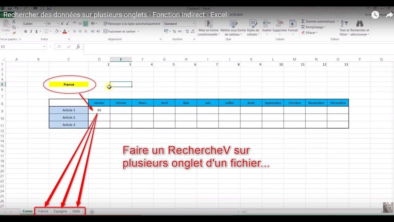 Faire Un Recherchev Sur Plusieurs Onglets Fonction Indirect Excel Youtube