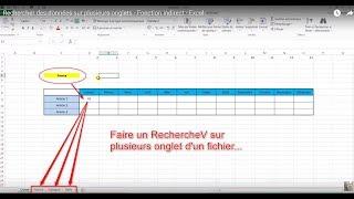 Rechercher des données sur plusieurs onglets - Fonction indirect - Excel