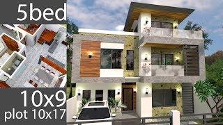 Plan 3d 5bedroom Home Design Plan 10x9m Full Plan