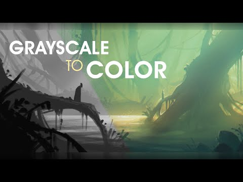 GREYSCALE Concept Art To COLOR Process | Digital Painting Tutorial | Landscape Environment Design