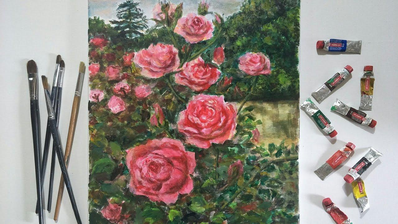 Cách vẽ hoa hồng đẹp bằng sơn dầu | Tóm tắt những thông tin liên quan đến vải vẽ tranh sơn dầu đúng nhất