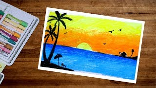 How To Draw Sea Beach Scenery With Oil Pastel   Landscape Sunset Scenery Drawing With Oil Pastel