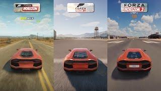 Forza Horizon vs Forza Horizon 2 vs Forza Horizon 3 - Lamborghini Aventador Sound Comparison