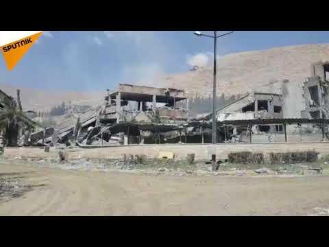Le centre de recherche scientifique à Barzeh, une des cibles des frappes, après l'attaque en Syrie