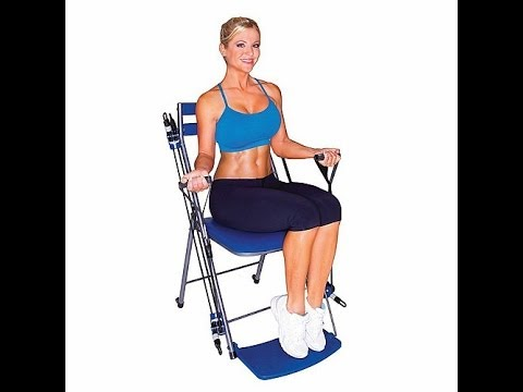 chair gym setup red living room exercise system with twister seat dvds youtube