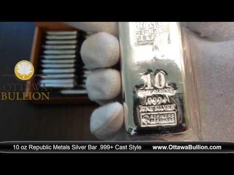 10 oz Republic Metals Silver Bar Cast Style - buy silver bars ottawa