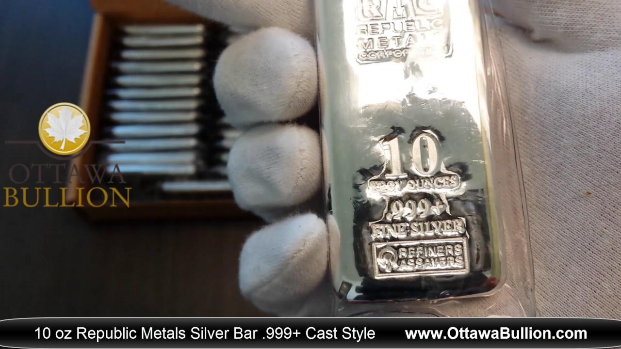 10 Oz Republic Metals Silver Bar Cast Style Buy Silver