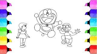 Drawing and Coloring Doraemon, Nobita and Shizuka cute drawings for Kids