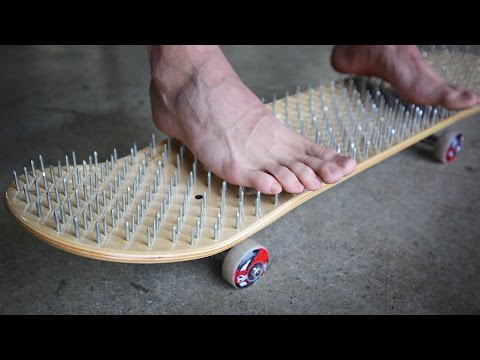 BED OF NAILS SKATEBOARD *BLOOD ALERT!* | YOU MAKE IT WE SKAT