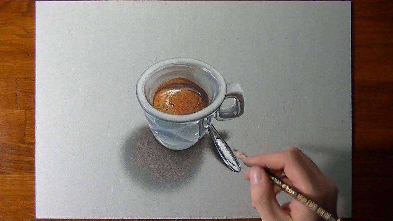 Disegno realistico in timelapse una tazzina di caff for Disegno 3d free