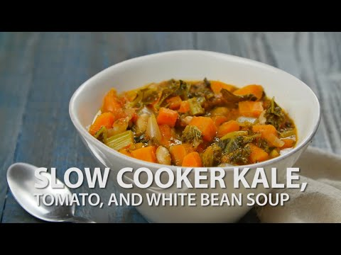 Slow Cooker Kale, Tomato And White Bean Soup