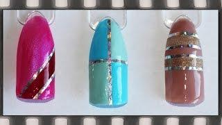 Скотч-лента на гель-лаке маникюр. Дизайн ногтей с лентой | Silver Tape Nail Art