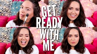 GET READY WITH ME | Peachy-Grunge Spring Makeup!