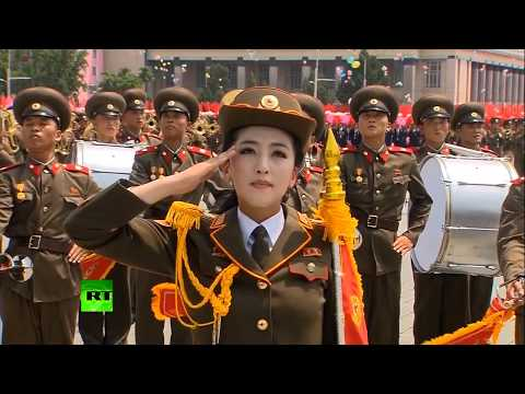 I put some You dropped the bomb on me music over North Korean marching