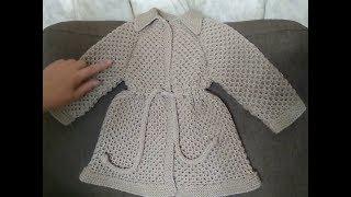 МК детского пальто. Обзор почти готового изделия. Осталось довязать ещё 1 рукав, пояс и воротничок