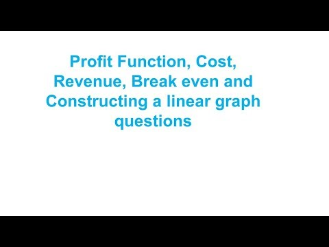 Profit Function, Cost, Revenue, Break even and Constructing a linear graph questions