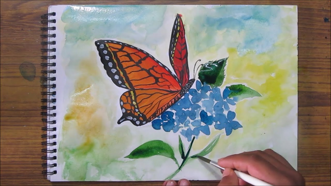 how to paint a butterfly watercolor painting for beginners speed